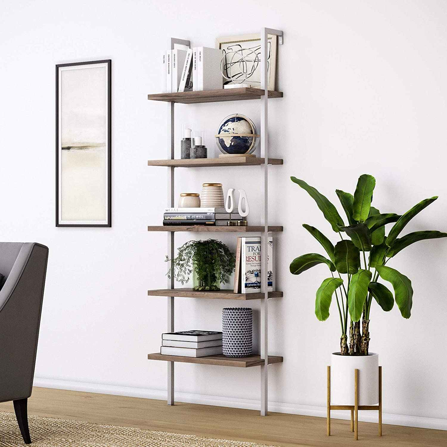 Us Warehouse 5 Shelf Wood Ladder Bookcase With Metal Frame Industrial 5 Tier Modern Ladder Shelf Wood Shelves Walnut Decorative Shelves Aliexpress
