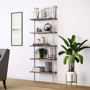 【US Warehouse】5-Shelf Wood Ladder Bookcase with Metal Frame, Industrial 5-Tier Modern Ladder Shelf Wood Shelves,Walnut