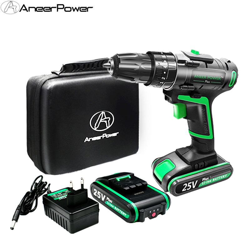 25V Impact Electric Battery Cordless Hand Electric Drill Three Funct Screwdriver Home Diy Power Tools Home Decoration & Drilling