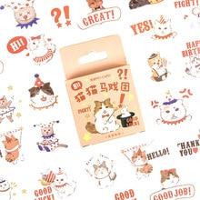 45 pcs/box Cute Cat circus series Journal Decorative Stickers Scrapbooking diy Stick Label Diary Stationery Album Stickers