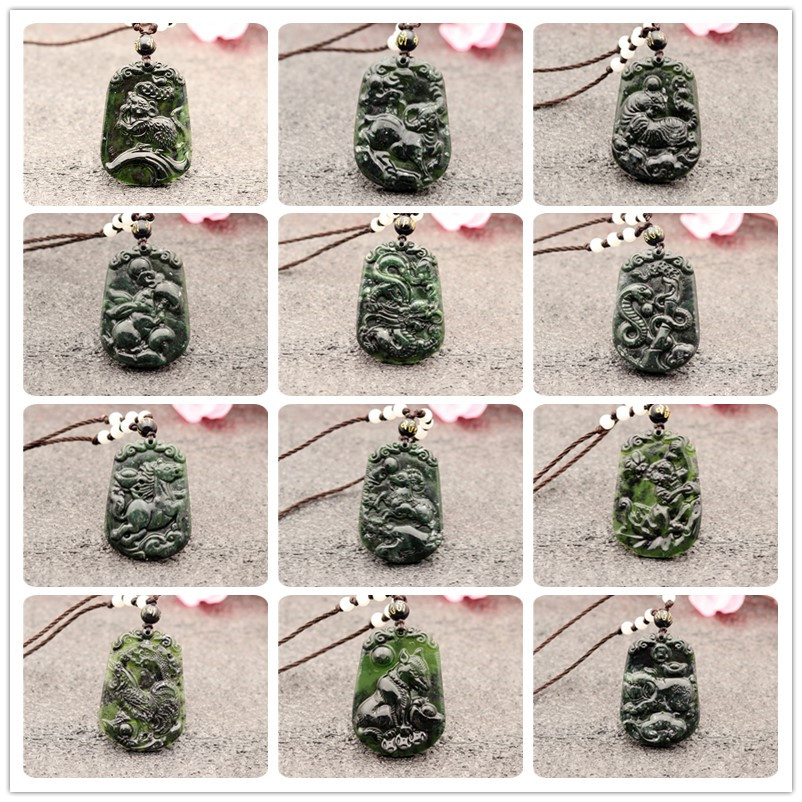 Natural Black Green Jade Chinese Zodiac Pendant Necklace Obsidian Charm Jewellery Accessories Hand-Carved Amulet Gifts For Women