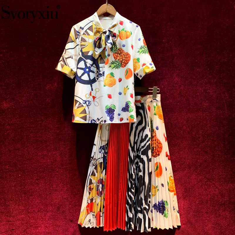 Svoryxiu 202 Runway Custom Summer Skirt Suit Women's Short Sleeve Fruit Print Blouse + Long Pleated Skirt Fashion Two Piece Set