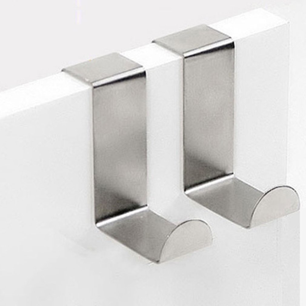 Over The Door Hooks Hanging Towel Rack Stainless Steel Multiple Use Z Shaped Cabinet Door Hooks Storage Organizer