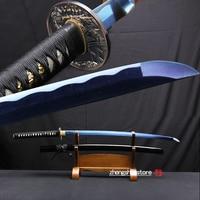 Blue Color Blade Japanese Katana Handmade 1045 carbon steel Samurai Sword Sharpness Edge for cutting Wooden Sheath