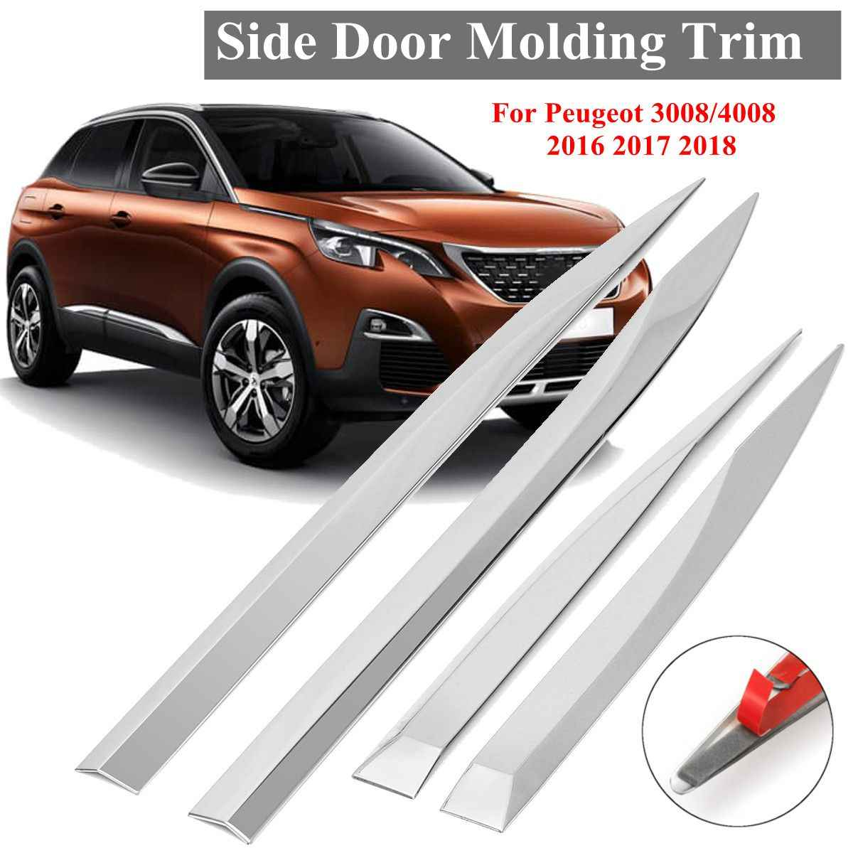 4X Auto Deur Body Chrome Side Molding Protector Trim Rvs Sticker Strips Voor Peugeot 3008 4008 2016 2017 2018