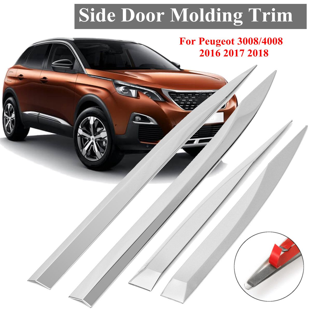 4X Car Door Body Chrome Side Molding Protector Trim Stainless Steel Sticker Strips For <font><b>Peugeot</b></font> <font><b>3008</b></font> 4008 <font><b>2016</b></font> 2017 2018 image