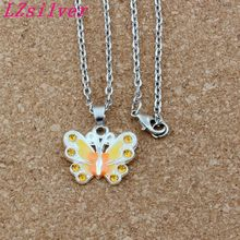 купить 10pcs/lots Yellow Rhinestone Enamel Butterfly Alloy Charms Pendants Necklaces Jewelry DIY 23.6 inches Chains A-509d онлайн