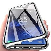 Magnetische Doppelseitige Glas Fall Für Samsung S21 S20 Ultra S20 S21 S10 S9 S8 Plus Hinweis 20 Ultra Hinweis 8 9 10 Pro Vollen Schutz
