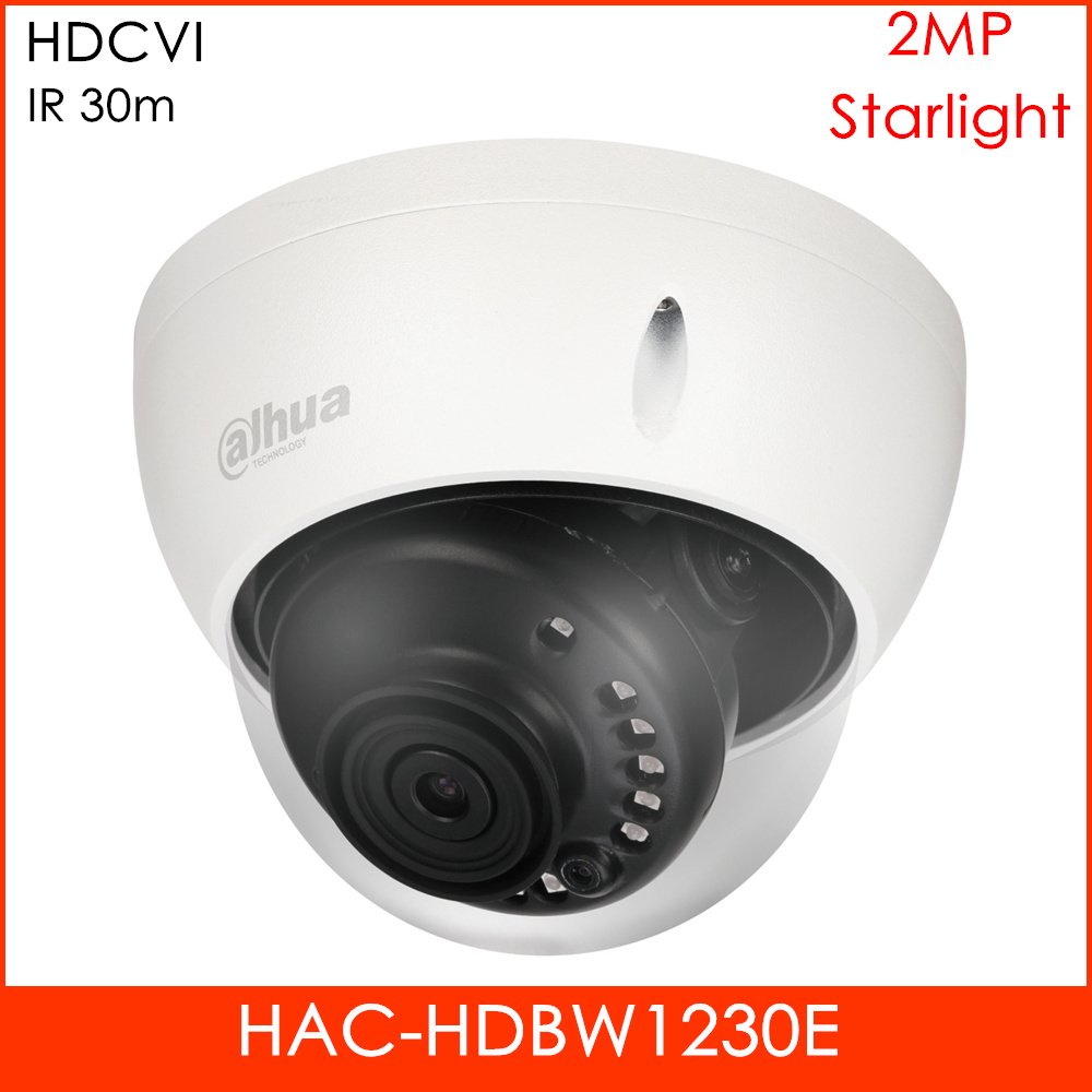 Starlight HDCVI Dahua Camera HAC-HDBW1230E 2MP Smart IR 30m Waterproof for Indoor Outdoor Dome camera CCTV Camera