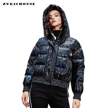 ZURICHOUSE Laser Winter Donsjack Vrouwen Hooded Glanzend Zwart Down Parka 2019 Mode Losse Warme Dikke 90% Eend Down Jas(China)