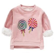 Baby Sweaters Clothes For Girls Long Sleeve Cartoon Print Kids Tops Winter Warm Plus Velvet Toddler Pullover Sweatshirt