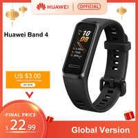 Versión Global Huawei Band 4 pulsera inteligente 0,95 ''Color USB-dentro de Pantalla AMOLED Seguimiento de ritmo cardíaco salud dormir Snap