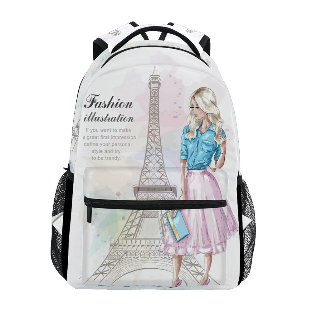 ALAZA New Backpack School Bags Eiffel Tower Prints Fashion Girls Backpack Student Elementary Schoolbags National Flags Book Bags