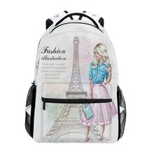ALAZA New Backpack School Bags Eiffel tower Prints Fashion girls Student Elementary Schoolbags National Flags Book