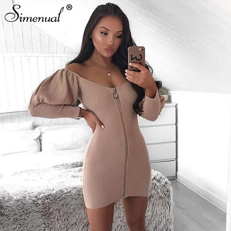 Simenual Bodycon Zip Up Fashion Mini Dress Women Off Shoulder Lantern Long Sleeve Party Dress Sexy Hot 2019 Autumn Clubwear New