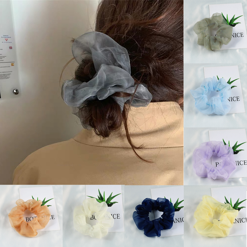 Ruoshui Woman Fantastic Organza Hair Ties Solid Girls Scrunchies Ponytail Holders Women Fashion Elastic Hair Band Accessories