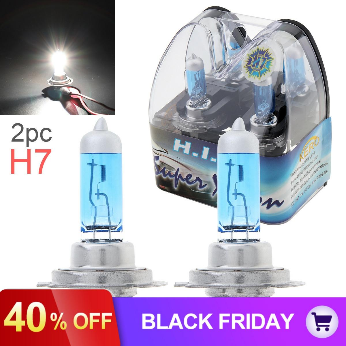2pcs 12V H7 55W 6000K White Light Super Bright Car Xenon Halogen Lamp Auto Front Headlight Car Fog Light Bulb