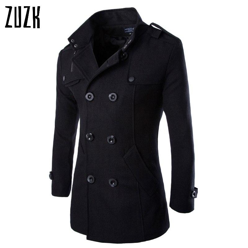 Winter Men Black Coats Mens Overcoat Trench Coat Male Double Breasted Wool Blends Coats Men Wool Pea Coat Coat Black Menpea Coat Aliexpress
