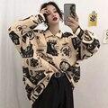 Рубашка QWEEK в стиле Харадзюку, женская блузка с длинным рукавом, рубашка с принтом на пуговицах, модный топ большого размера на весну 2021, винт...