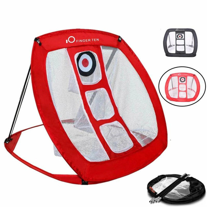Golf Chipping Net Training Aid Practice Indoor Outdoor Mat Tools Red Color Portable Nylon Target Golf Accessories Foldable Set