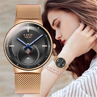 LIGE 2020 nowe złote zegarki damskie zegarki damskie kreatywne stalowe damskie bransoletki z zegarkiem damskie wodoodporne zegary Relogio Feminino