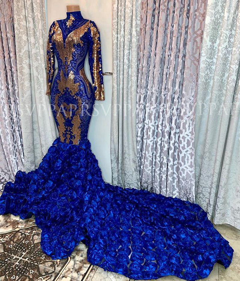 Sexy Long Prom Dresses 2020 High Neck Long Sleeves African Black Girl Royal Blue 3D Rose Mermaid Prom Dress