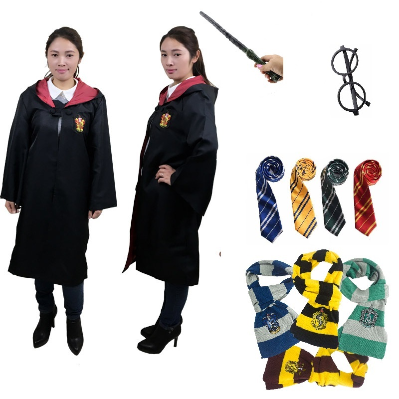 Kids Adult Hogwarts Magic School College Suit Gryffindor Robe Magic Hufflepuff Slytherin Cloak Potter Halloween Cosplay Costume