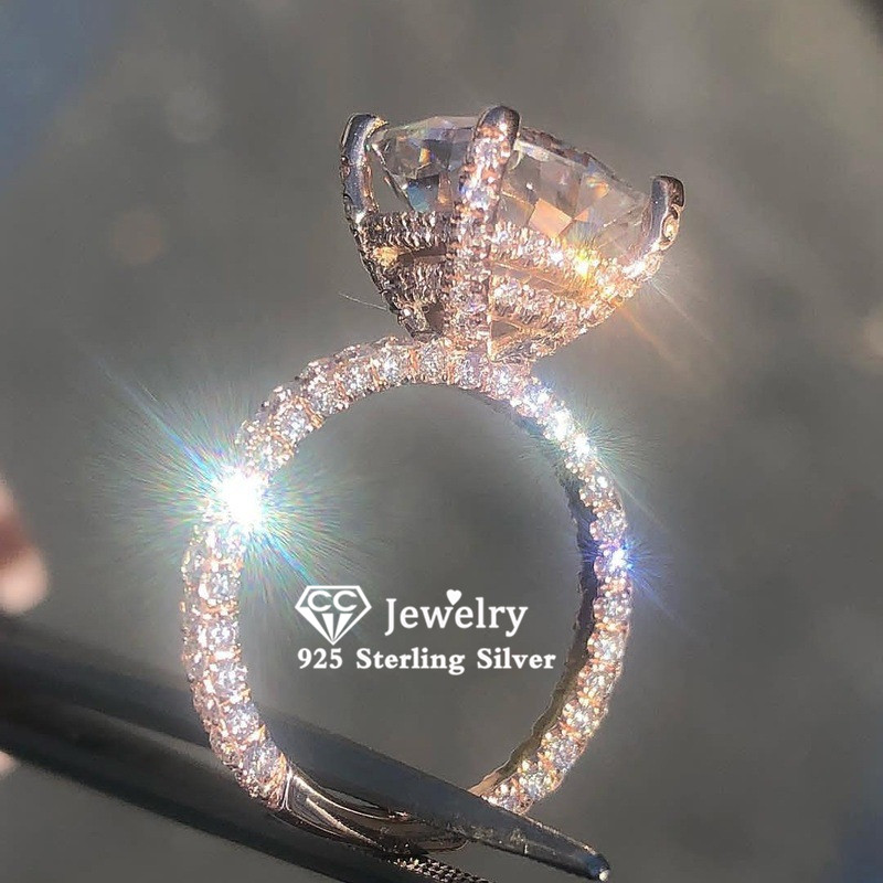 Bague en argent pour femmes, zircon cubique, or Rose, Bijoux fins de luxe, couleur de fiançailles de mariage, CC3100
