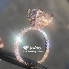 CC S925 Silver Rings For Women Cubic Zirconia Rose Gold Color Luxury Fine Jewelry Bridal Wedding Engagement Bijoux Femme CC3100