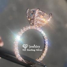 CC S925 Silber Ringe Für Frauen Zirkonia Rose Gold Farbe Luxus Edlen Schmuck Braut Hochzeit Engagement Bijoux Femme CC3100