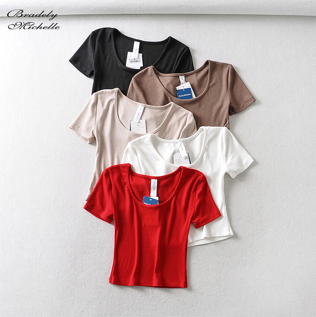 Bradely Michelle Casual Cotton New 2020 Summer Woman Slim Fit t-shirt tight Short-Sleeve O-neck tee Crop Tops 1