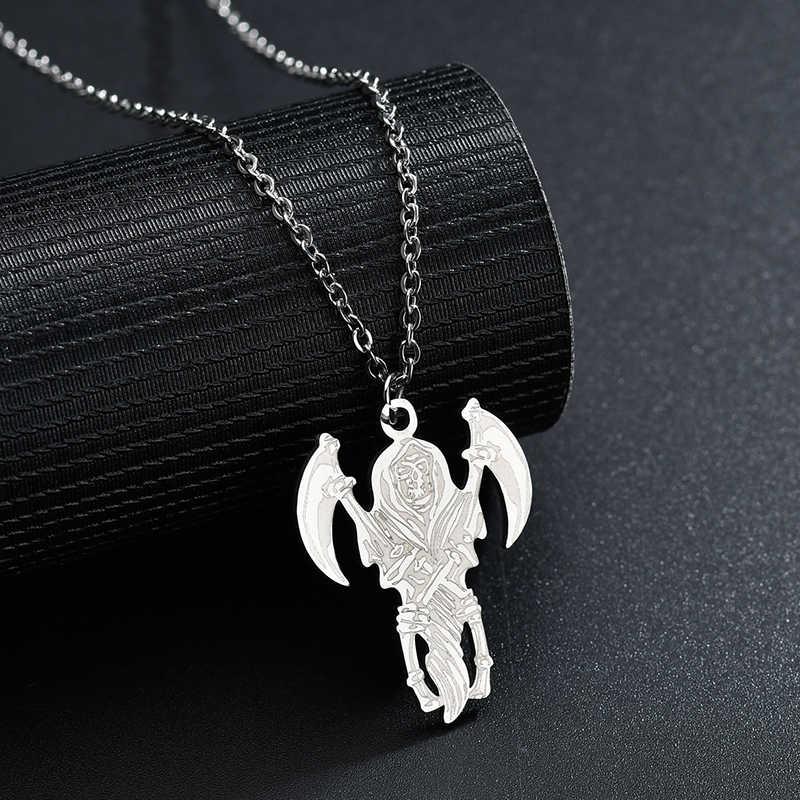 Letdiffery Punk czaszka ze stali nierdzewnej sztylet martwy sierp wisiorek naszyjniki dla mężczyzn kobiety fajne biżuteria prezenty urodzinowe