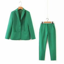 Temperament womens suit green two-piece 2019 new slim single-breasted blazer Fashion trouser Office set Red Green