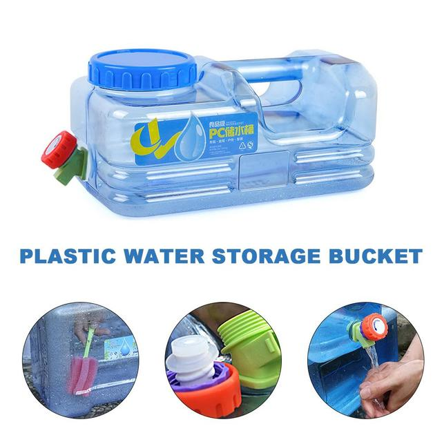 5L Portable Car Driving Water Bucket PC Thickened Camping Water Tank Water Container With Faucet For Camping Hiking Picnic