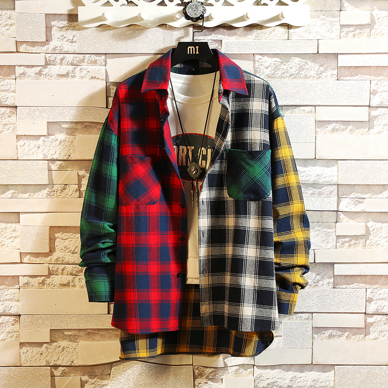 Men Shirts 2020 new personality patchwork red plaid street casual hip hop long-sleeved shirt men's loose shirt Streetwear
