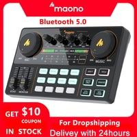 MAONO AM200 Professional 12 Kinds Of Electronic Sound Music Mixer Audio Professional Digital Audio Mixer For PC Karaoke, Youtube