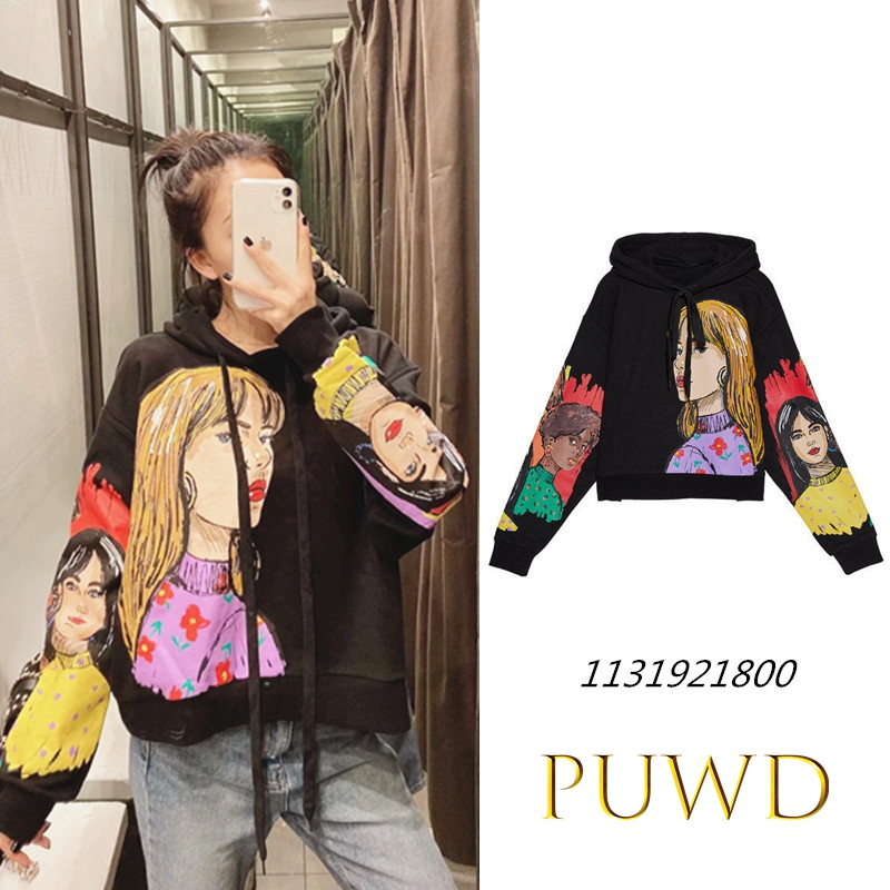 PUWD Women Charater Print Black Sweatshirts Oversize Long Sleeve O Neck Loose Pullovers Casual Female Tops 01131921800
