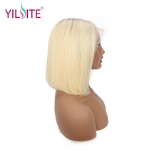 Ombre Color Lace Front Human Hair Wigs For Black Women Brazilian Remy Straight Short Bob With Baby