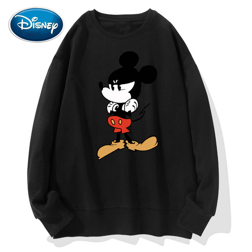 Disney Stylish Mickey Mouse Angry Cartoon Print O-Neck Pullover Couples Unisex Women T-Shirt Long Sleeve Tops S - 3XL 9 Colors