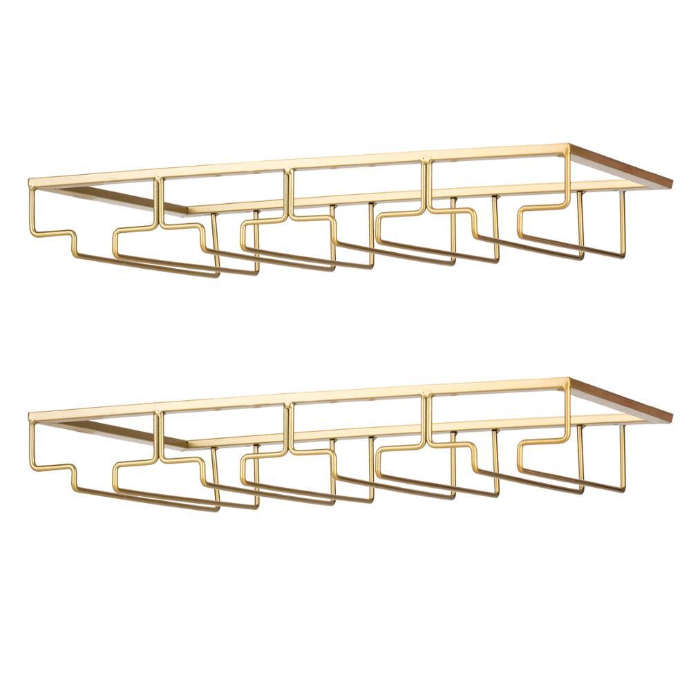 Wine Glass Rack - Under Cabinet Stemware Wine Glass Holder Glasses Storage Hanger Metal Organizer Gold 4 row 2 packs