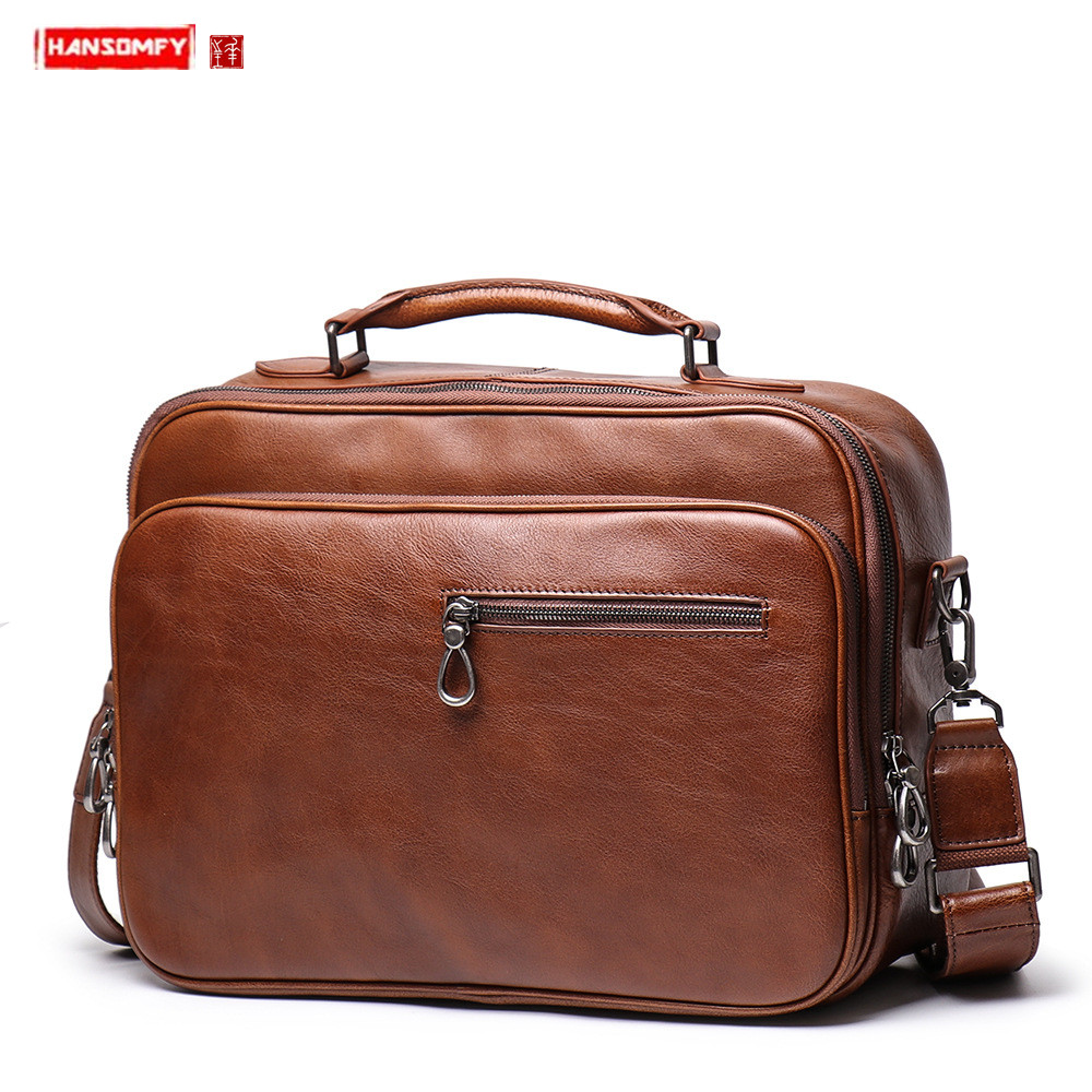 New Genuine Leather Men Handbag Business Briefcase Male15.6 Inch Laptop Bag Shoulder Messenger Bag Real Leather Men Travel Bags