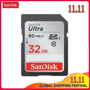 Image 1 - 100% SanDisk Ultra 16GB 32GB 64GB 128GB classe 10 carte SD SDHC SDXC carte mémoire C10 80 mo/s carte sd prise en charge vérification officielle