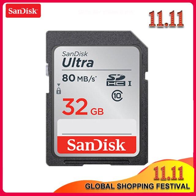 100% SanDisk Ultra 16GB 32GB 64GB 128GB classe 10 carte SD SDHC SDXC carte mémoire C10 80 mo/s carte sd prise en charge vérification officielle