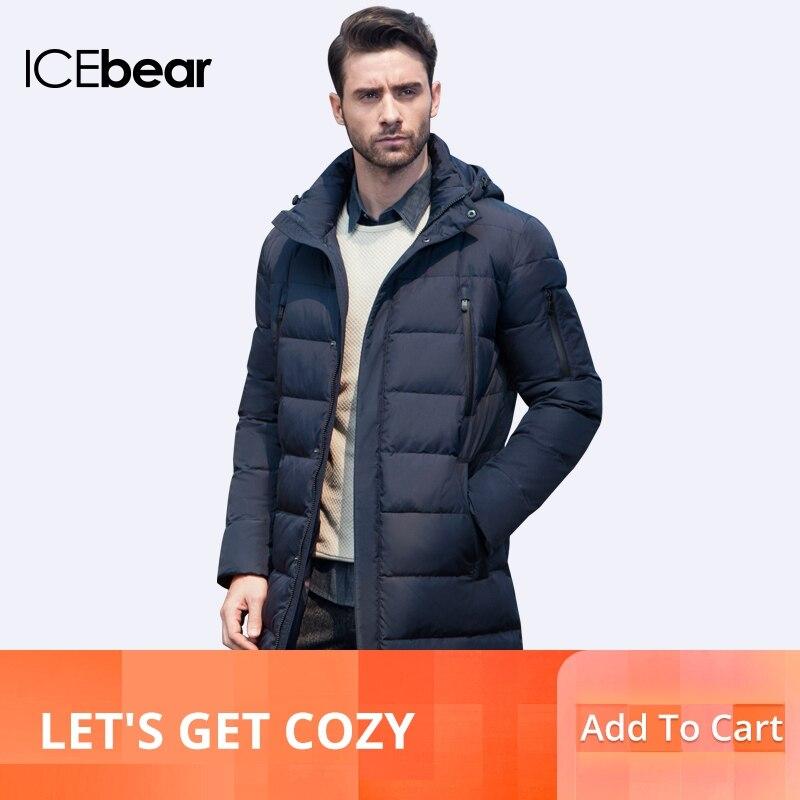 ICEbear 2019 جديد الملابس جاكيتات الأعمال طويلة سميكة معطف الشتاء الرجال الصلبة سترة الأزياء معطف قميص 16M298D-في سترات فرائية مقلنسة من ملابس الرجال على  مجموعة 1