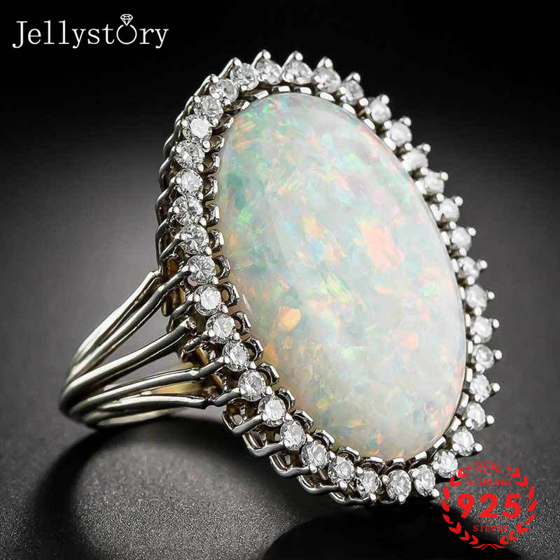 Jellystory Trendy Silver 925 Jewelry Ring Oval Shape Opal Zircon Gemstone Rings For Women Wedding Party Gift Wholesale Size 6-10