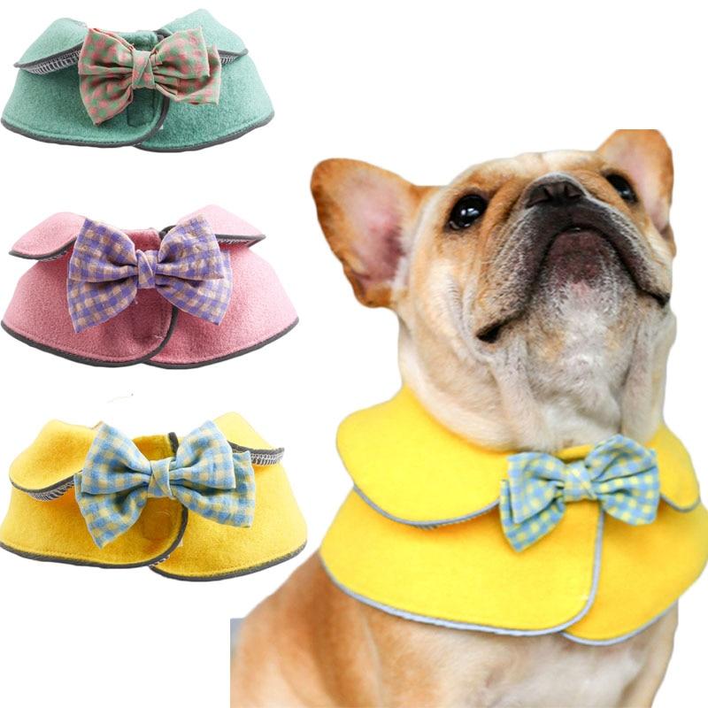Pink Green Yellow Dog Accessories Cat Bibs Double Layer Woolen Plaid Big Bowktie Bandana Shawl Scarf For Small Large Dog Bulldog