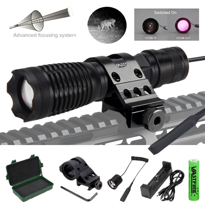 IR-710 Hunting Flashlight 7W Infrared Radiation IR 850nm Night Vision Zoomable Weapon Light+18650+Charger+Switch+Mount+Case
