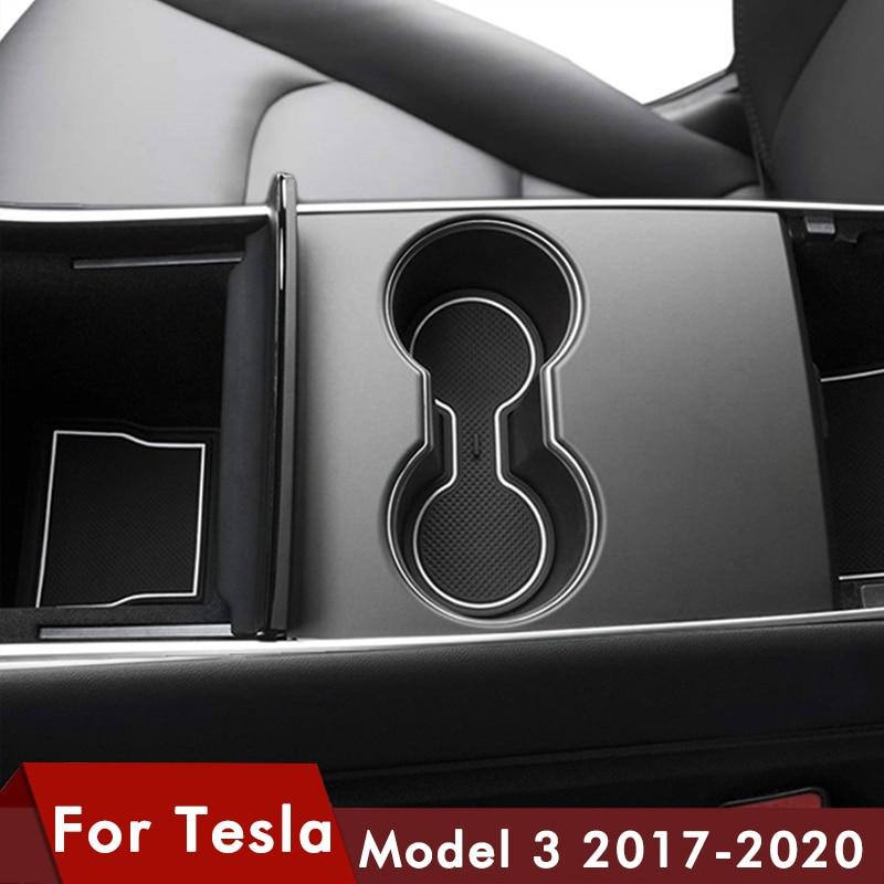 7Pcs/Set For Tesla Model 3 Car Accessories Gate Slot Pad Door Groove Mat Black Rubber Mat Center Console Cup Holder Model3 Three