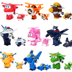 12pcs/set AULDEY Super Wings Deformation JETT Airplane Robot Action Figures Transformation Toys Doll for Children Birthday Gift