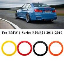 Carro traseiro emblema anel logotipo quadro capa guarnição para bmw série 1 f20/f21 2011-2019 vermelho preto laranja amarelo